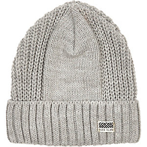 Boys grey ribbed rolled up beanie hat