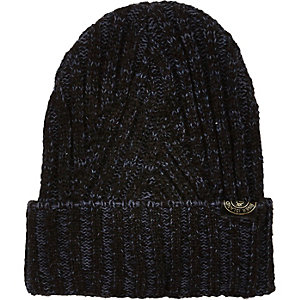 Boys navy ribbed turn up beanie hat