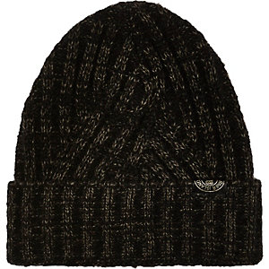 Boys khaki ribbed turn up beanie hat