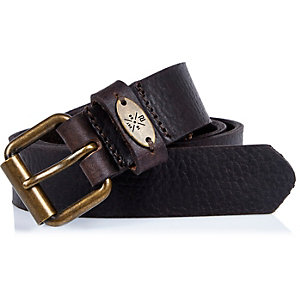 Boys brown textured leather belt