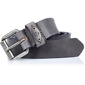 Boys grey textured leather belt