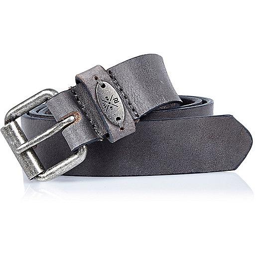 Boys grey textured leather belt