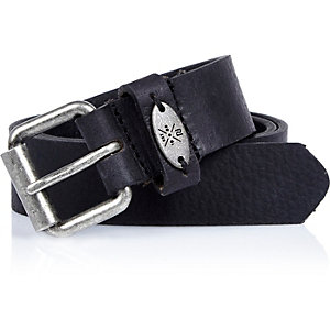Boys black textured leather belt