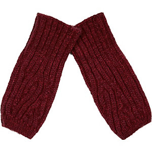 Boys red knitted hand warmers