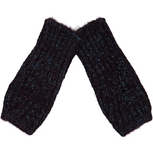 Boys navy blue knitted hand warmers