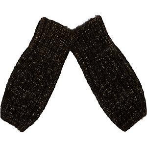 Boys khaki knitted hand warmers