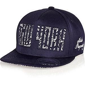 Boys navy New York snap back cap
