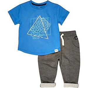Mini boys blue t-shirt joggers outfit