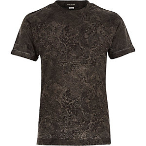 Boys grey intricate print t-shirt