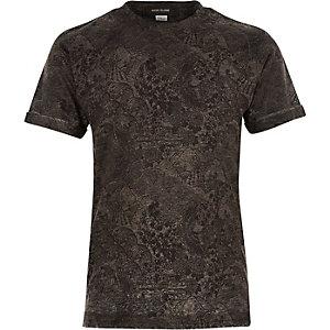Boys grey intricate print t-shirt