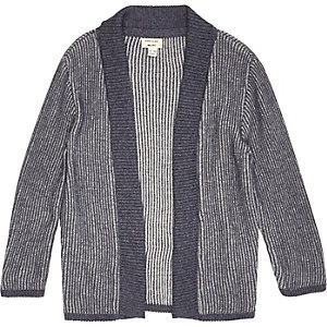Mini boys blue knitted shawl cardigan