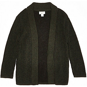 Mini boys khaki knitted shawl cardigan