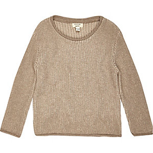 Mini boys beige plaited sweater