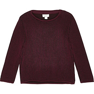 Mini boys dark red plaited jumper