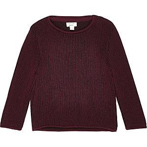 Mini boys dark red plaited jumper