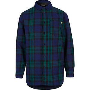 Boys navy check tartan shirt