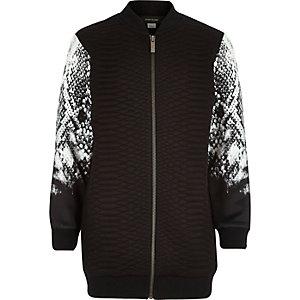 Boys black snake print bomber jacket