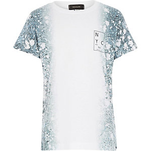Boys white paint splatter t-shirt