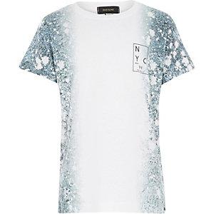 Boys white paint splatter t-shirt