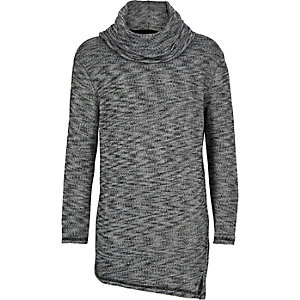 Boys grey marl cowl neck top