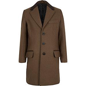 Boys brown wool-blend overcoat