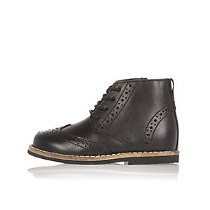 Mini boys black brogue boots