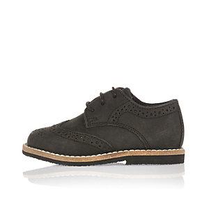 Mini boys black nubuck leather brogues