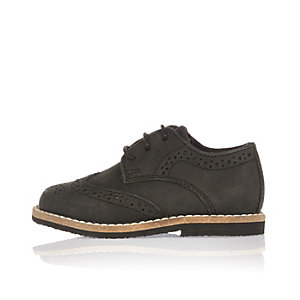 Chaussures richelieu en nubuck noir mini garçon