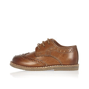 Mini boys light brown brogues
