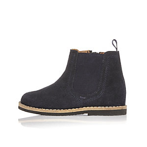 Mini boys navy suede Chelsea boots