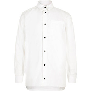 Boys white popper shirt