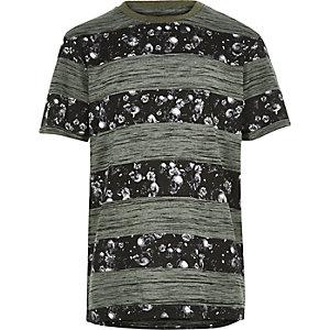 Boys khaki print stripe t-shirt
