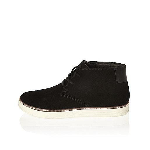 Boys black desert boots