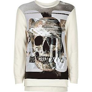 Boys ecru skull print sweatshirt
