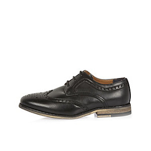 Boys black smart color block heel brogues