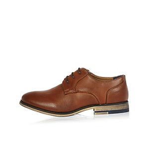 Boys brown color block heel shoes