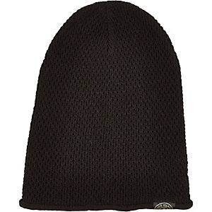 Boys black knitted beanie hat