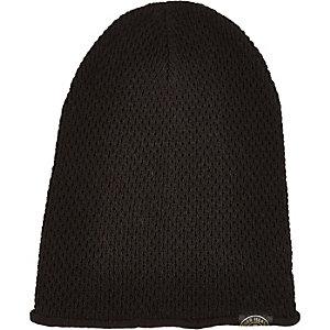 Boys black knitted beanie hat