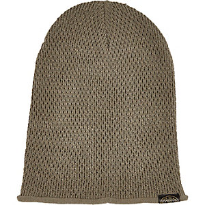 Boys dark green knitted beanie hat