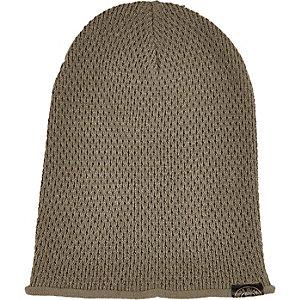 Boys dark green knitted beanie hat