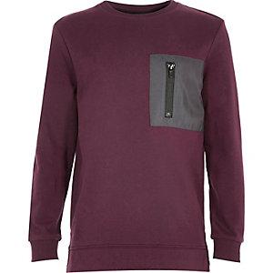 Boys dark purple patch sweatshirt