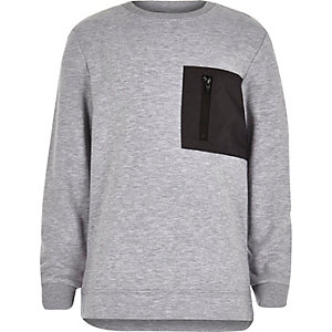 Boys grey block zip sweatshirt