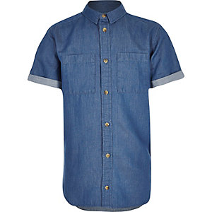 Boys blue short sleeve denim shirt