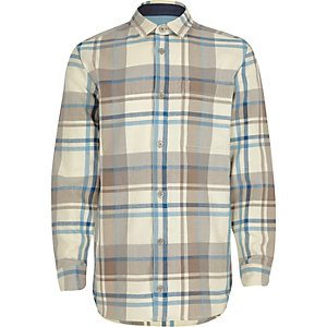 Boys ecru plaid check shirt