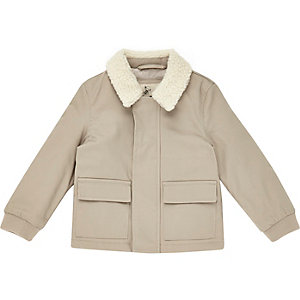 Mini boys beige fleece collar coach jacket