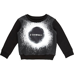 Mini boys black snowball print sweatshirt