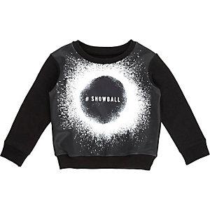 Mini boys black snowball print sweatshirt