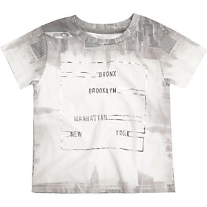 Mini boys grey metallic Bronx print t-shirt