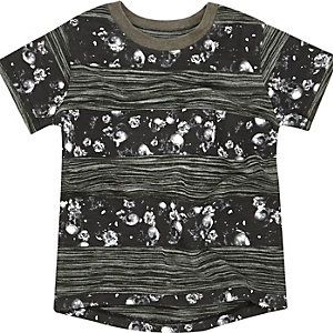 Mini boys khaki skull stripe t-shirt