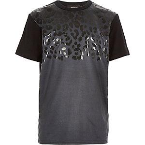 Boys black faux-suede leopard print t-shirt